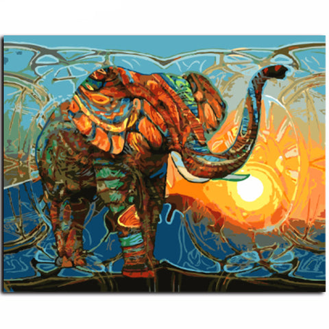 DIY Oil Painting - Abstract Elephant - DIY Art Home Decor