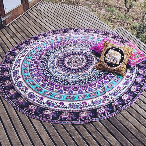 Indian Mandala Tapestry - Elephant Pattern - Round - Home decor