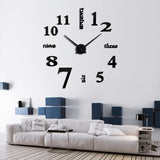 Acyrlic Mirror Wall Clock - Letters & Numbers - Black - DIY Wall Clock