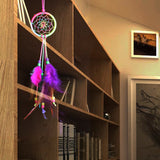 "Colorful Feather Handmade Dream Catcher - 12"" long"