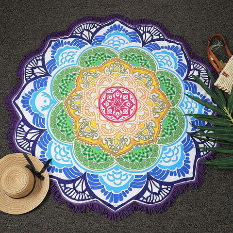 "Chic Tassel Indian Mandala Tapestry Lotus Printed Polyester Bohemian Wall Hanging/Beach Towel/Yoga Mat - 59"" Diameter"