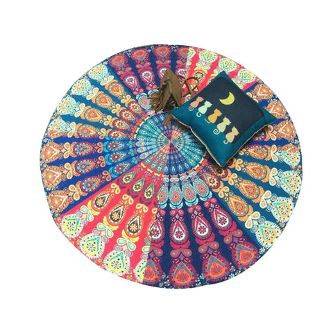 Indian Mandala Tapestry - Multi Color - Round - Home decor
