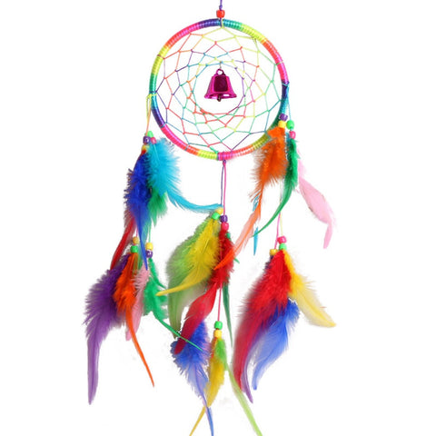 Multi Color Wind Chime Hand made Feathers Dream Catcher - Home decor