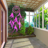 Pink - Wind Chime Hand made Feathers Dream Catcher - Home decor