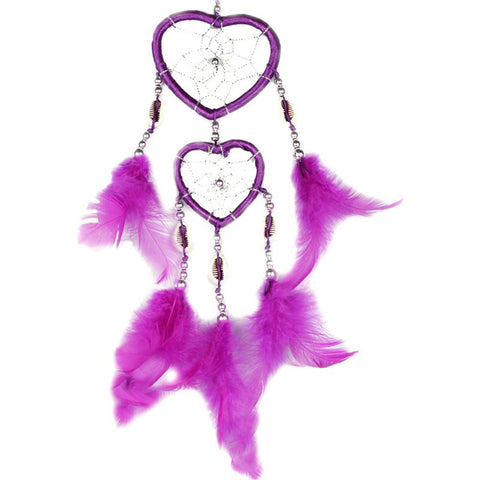 Purple Hearts Hand made Feathers Dream Catcher