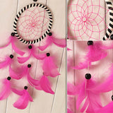 Romantic Pink - Hand made Feathers Dream Catcher - Home Decor