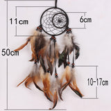 "Black & Brown Handmade Dream Catcher Net with Feathers - 20"" long"