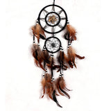 Shell & Brown Feathers - Hand made  Dream Catcher - Home Decor