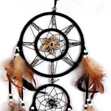 "Shell & Brown feather Dream Catcher Wall decoration ornament - 27"" long"