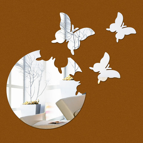 Acrylic Mirror Wall Stickers - DIY Room Decor - Butterflies - Silver