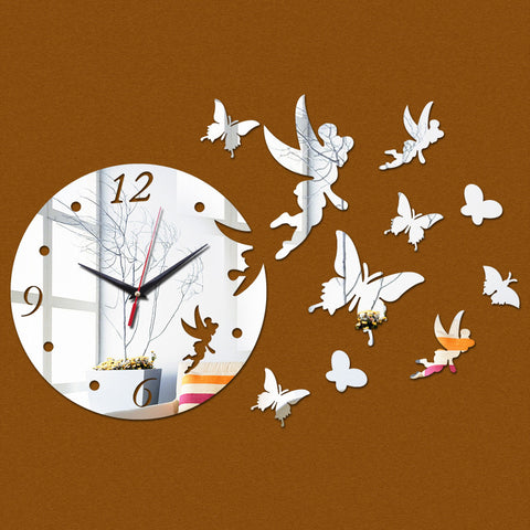 3D Acrylic Mirror - Angels & Butterflies - Silver - DIY Modern Wall Clock