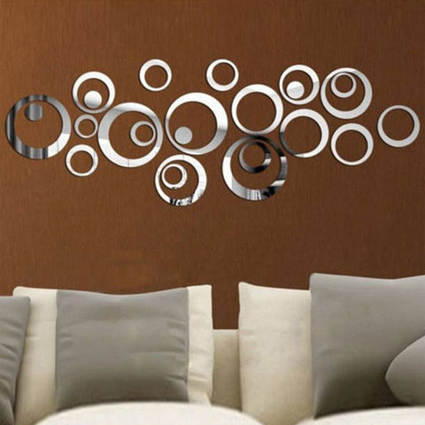 Acrylic Mirror Wall Stickers - DIY Room Decor - Circles - Silver