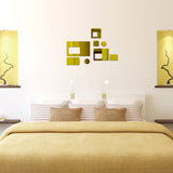 Acrylic Mirror Wall Stickers - DIY Room Decor - Rectangles - Gold