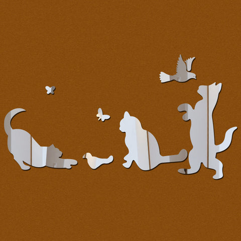 Acrylic Mirror Wall Stickers - DIY Room Decor - Cats & Birds - Silver