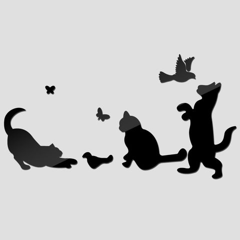 Acrylic Mirror Wall Stickers - DIY Room Decor - Cats & Birds - Black