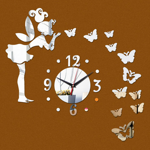 Acyrlic Mirror Wall Clock - Angel & Butterflies - Silver - DIY Wall Clock