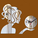 Acyrlic Mirror Wall Clock - Modern Girl- Silver - DIY Wall Clock