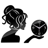 Acyrlic Mirror Wall Clock - Modern Girl- Black - DIY Wall Clock
