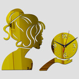 Acyrlic Mirror Wall Clock - Modern Girl- Gold - DIY Wall Clock