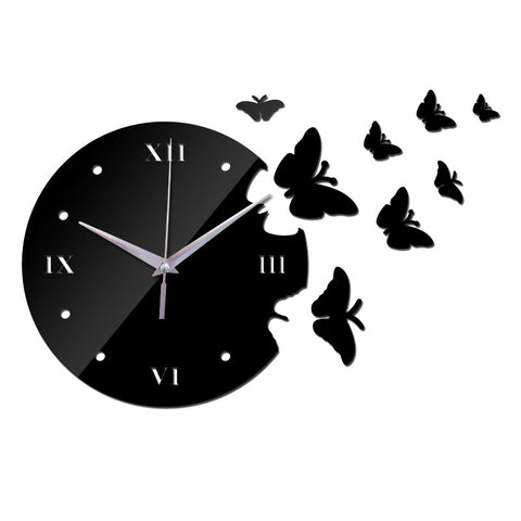 3D Acrylic Mirror - Butterflies - Black - DIY Modern Wall Clock