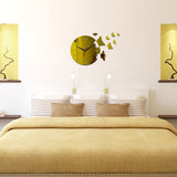 3D Acrylic Mirror - Butterflies - Gold - DIY Modern Wall Clock