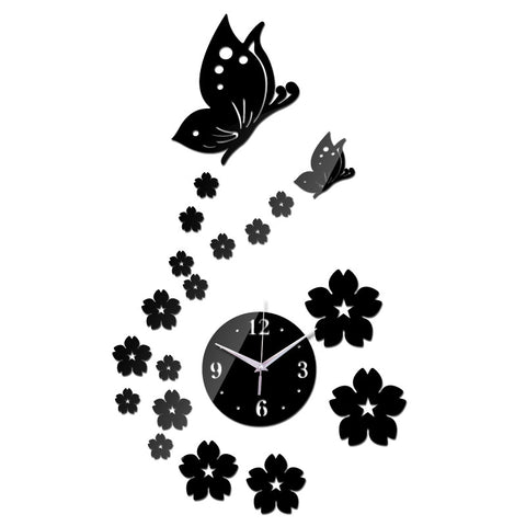 Acrylic Modern Wall Clock - Butterflies - DIY Wall Clock - Black