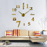 Acyrlic Mirror Wall Clock - Letters & Numbers - Gold - DIY Wall Clock