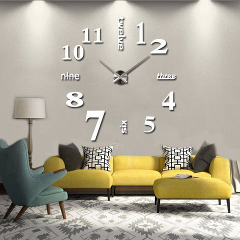 Acyrlic Mirror Wall Clock - Letters & Numbers - White - DIY Wall Clock
