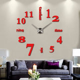 Acyrlic Mirror Wall Clock - Letters & Numbers - Red - DIY Wall Clock