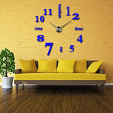 Acyrlic Mirror Wall Clock - Letters & Numbers - Blue - DIY Wall Clock
