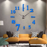 Acyrlic Mirror Wall Clock - Letters & Numbers - Sky Blue - DIY Wall Clock
