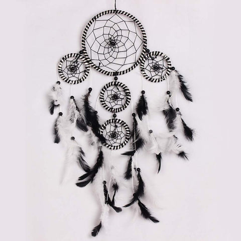 Black & White Hand made Feathers Dream Catcher