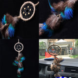 "Colorful Peacock Feather Handmade Dream Catcher  - 12"" long"