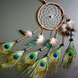 Majestic Peacock Hand made Feathers Dream Catcher
