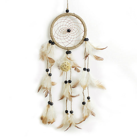 Brown & White Hand made Feathers Dream Catcher