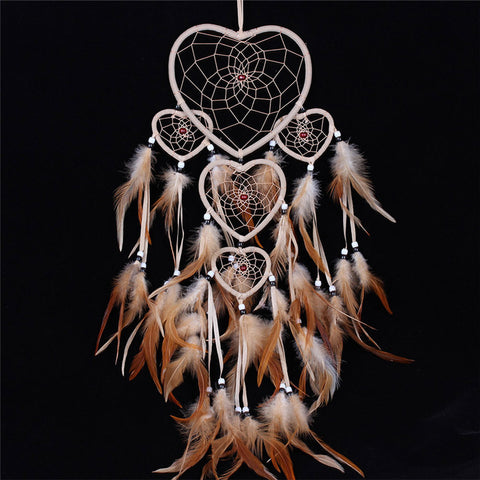 Multi Hearts - Hand made Feathers Dream Catcher - Home Decor
