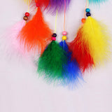 "Colorful Handmade Dreamcatcher Indian Style Feather Pendant - 20"" long"