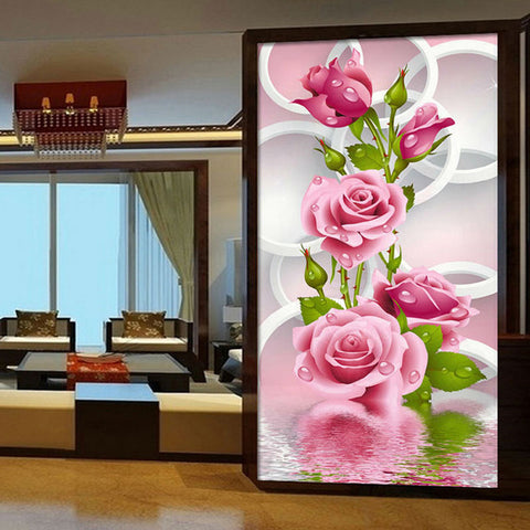 Diamond Art - Pink Rose diamond artwork Kit - DIY Art