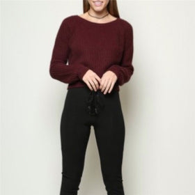 Korean style casual crop sweater slim long sleeve
