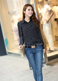 Casual Women Blouses New Summer Lady Polka Dots Vintage Design Long Sleeve
