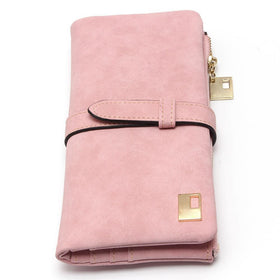 2017 Women's Drawstring Nubuck Leather Zipper Wallet