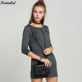 Korean Round Collar Zipper Dress