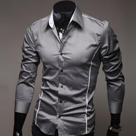Stitching Style Slim Shirt Men Solid Casual Long-Sleeve