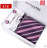 Silver Gray Checked Cufflink Hanky Business