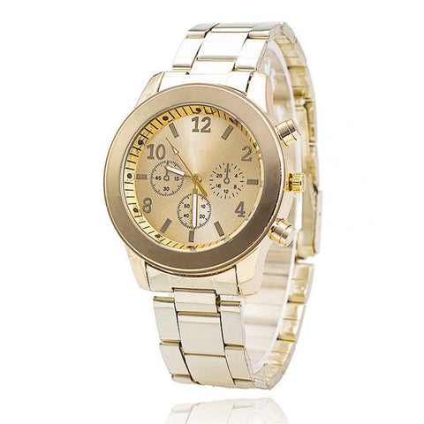 Vansvar Rose Gold Stainless Steel Dress Wristwatch