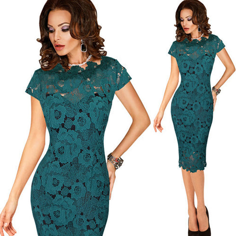 Vfemage Elegant Crochet Hollow Out Fitted Dress