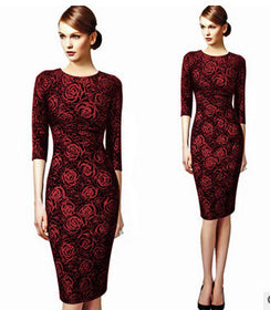 O Neck Elegant Printed Flower Sheath Dress