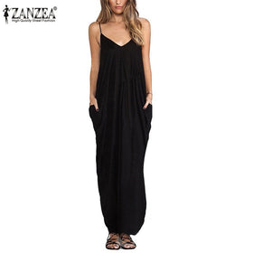 Zanzea Summer Boho Sexy Maxi Solid White Dress