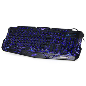 Russian Version Red/Purple/Blue Backlight LED Pro Gaming Keyboard