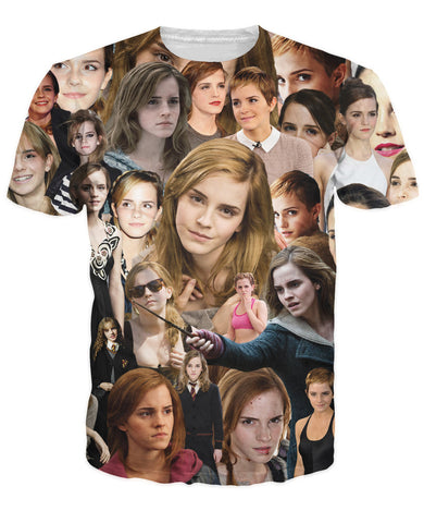 Emma Watson Paparazzi T-Shirt unique visual timeline throughout Emma Watson's successful career 3d Tees Women Men Outfits Tops